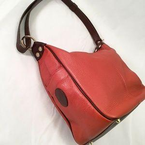 VALENTINA Italy Bag Bucket Brown/Orange Leather